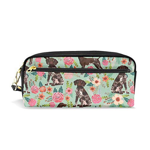(Multifunction Durable Cosmetic Bag German Shorthaired Pointer And Floral Beautiful Pencil Bag Pouch Bag Case Makeup Bag)