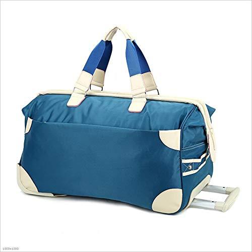 Yangjiaxuan Large-Capacity Gift Trolley Bag Nylon Portable Travel Trolley Bag Outdoor Travel Luggage Bag (Color : Blue)