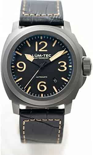 Lum-Tec M80 Automatic Watch | Leather Watch Band - Black/Silver