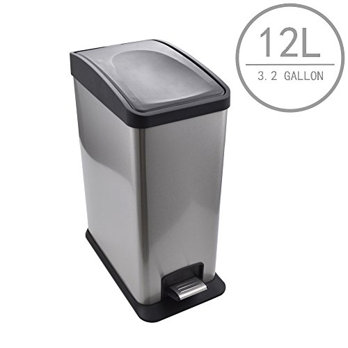 Kes Stainless Steel Rectangular Step Trash Can with Removabl