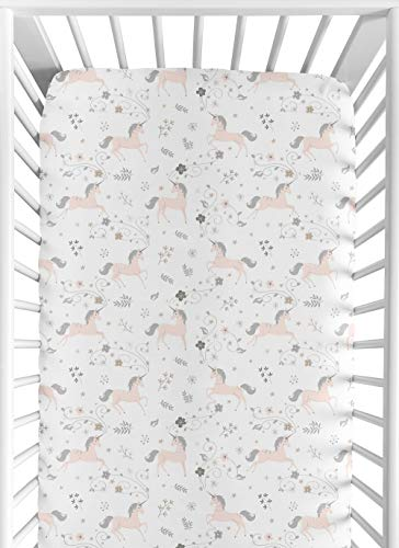 Sweet JoJo Designs Pink, Grey and Gold Baby or Toddler Fitted Crib Sheet for Unicorn Collection