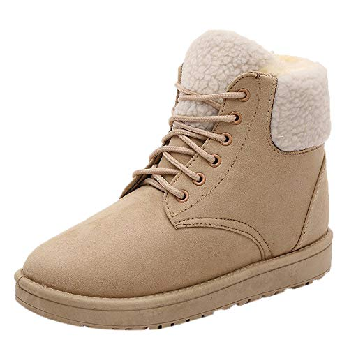Memela Clearance Sale!!Women's Winter Snow Boots Fur Liners Lace Up Short Basic Ankle Booties Winter High Top Snow Boots (Khaki, 7.5 M US) ()