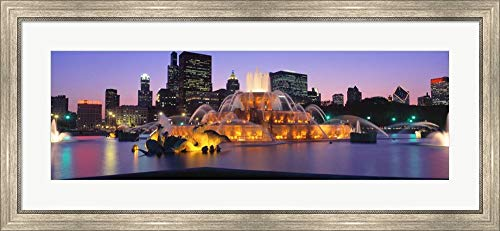 Buckingham Fountain, Chicago, Illinois by Panoramic Images Framed Art Print Wall Picture, Silver Scoop Frame, 42 x 19 ()
