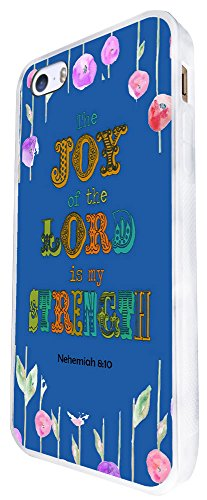 727 - Bible Quote The Joy Of The Lord Is My Strength Design iphone SE - 2016 Coque Fashion Trend Case Coque Protection Cover plastique et métal - Blanc
