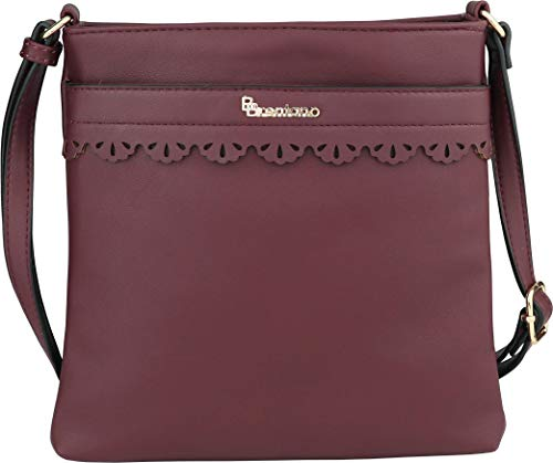B BRENTANO Vegan Medium Crossbody Handbag Purse (Red Pear) ()