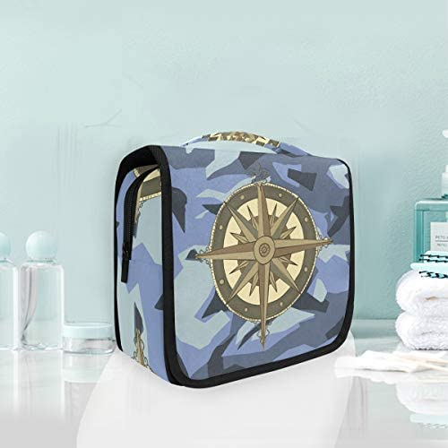 ブルーアートコンパスハンギング折りたたみトイレタリー化粧品袋メイク旅行オーガナイザーバッグケース用女性女の子浴室