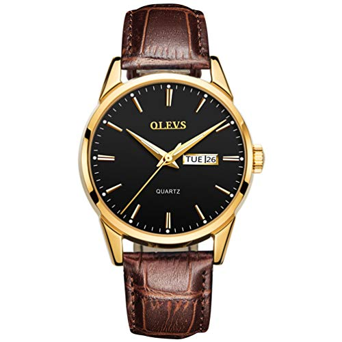 OLEVS Men's Alloy Quartz Watches Analog Week Date Business Casual Wristwatch Waterproof 30M Blue/White/Black/Gold Dial Brown Genuine Leather 3ATM Simple Classic YPF (Waterproof Leather Watch Mens)