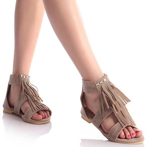 Sandalo Donna Easyemax Con Frange E Punta Aperta, Scarpe Gladiatore Alla Moda, Sandali Con Zip Alla Moda Beige