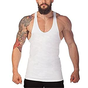 F.C Men's Tank Top Stringer Gym Shirt Vest (XXL,White)