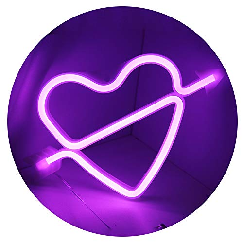 (Obrecis The Arrow of Love LED Neon Sign, Cupid Love Neon Light Art Decorative Lights Wall Decor for Home Party Festival Wedding (Purple Neon Heart))