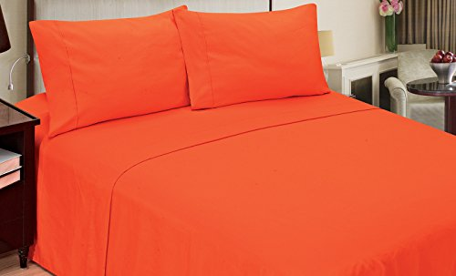Home Dynamix JMFS-253 3 Piece Jill Morgan Fashion Sheet Set, Twin X-Large, Solid, Orange