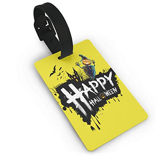 Luggage Tags Holders for Travel Luggage,Luggage Tags for Suitcases, Luggage Tags with Genuine Hand Strap Black Halloween Travel Suitcase Bag Tag Identify Label ()