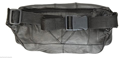 Large Black Genuine Lambskin Leather Fanny Pack Waist Bag with Cell Phone Pouch by Private Label (Image #2)