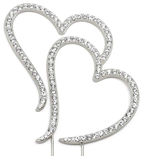 Double Heart Cake Topper, Wedding Anniversary Engagement Decorations, Crystal Rhinestone Silver