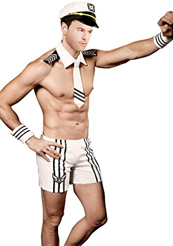 QinMi Lover Men Sexy Sailor Costume Outfit Lingerie White]()