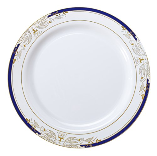 Signature Blu 120 Piece Dinner Plate with Cobalt Trim & Gold Stamping, 10.25