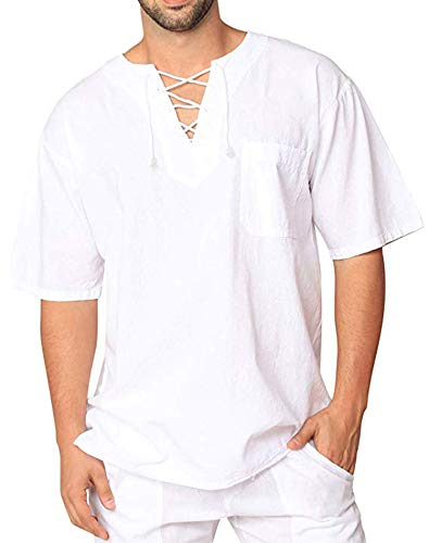 Oyamiki Men Renaissance Medieval White Cotton T Shirt V Neck Hippie Pirate Beach Kurta Yoga Tops White S