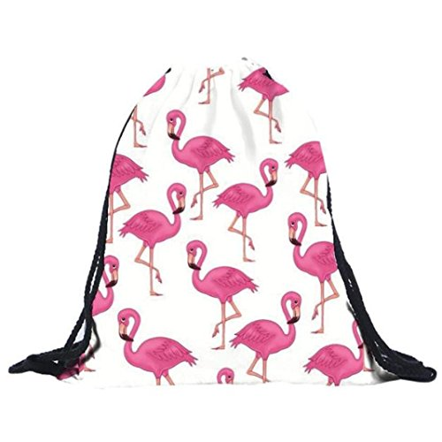 Mysky Women Bags, Unisex Backpacks 3D Printing Flamingo Drawstring Bag Backpack (White) from My*sky Bags