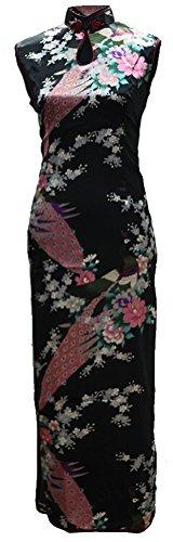 7Fairy Women's Silk Black Keyhole Peacock Long Chinese Dress Qipao Size 4 US by 7Fairy