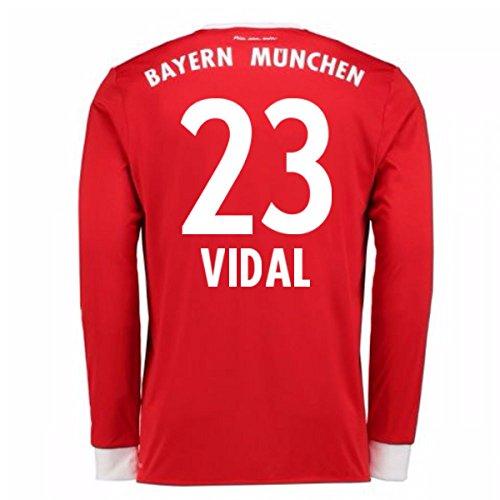 (2017-18 Bayern Munich Home Long Sleeve Football Soccer T-Shirt Jersey (Arturo Vidal 23))