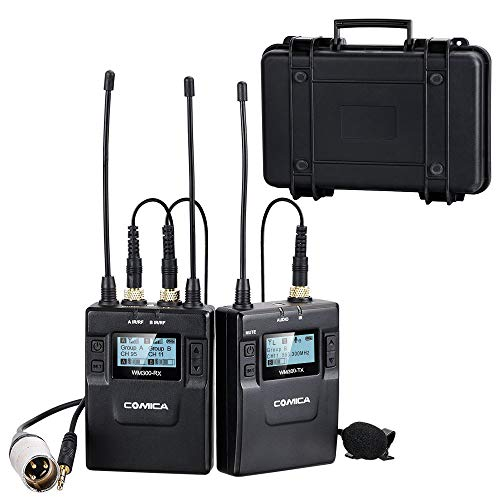 - Comica CVM-WM300(C) 96-Channel Zinc Alloy UHF Professional Chargable Dual Wireless Lavalier Microphone System for Canon 5DII/5DIII,6D,Panasonic GH4/GH5,XLR Camcorder Camera& Smartphone(394ft)(1RX+1TX)
