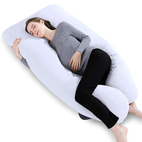 "INSEN 55""Full Body Pregnancy Pillow,U Shaped Maternity Pillow for Back Support,Body Pillow with Comfy Cotton Pillowcover,White"