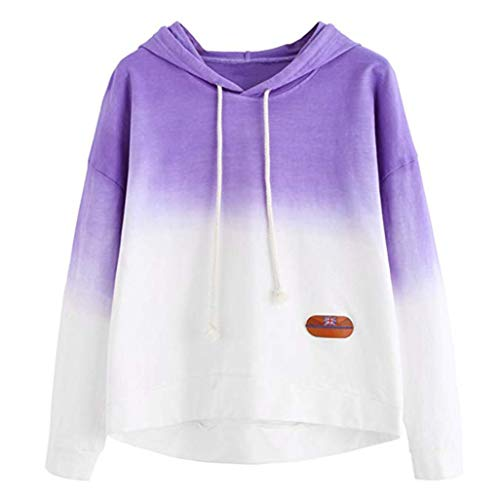 Price comparison product image Zainafacai Pullover Sweatshirt,  Relaxed Fit Long Sleeve Printed Patchwork Sweatshirt Tunics Tops (Purple