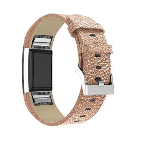 Price comparison product image Tiean New Shiny Leather Wristband With Metal Connectors For Fitbit Charge 2 (Rose Gold)