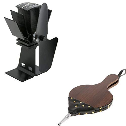 (Fityle 1Pcs Fireside Hand Powered Bellow + 1Pcs 2 Blades Wood Log Stove Fan, Warmer Heater Burner, Adds Heat)