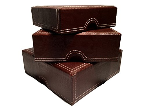 3-Piece Chocolate Deluxe Faux Leather Nested Square