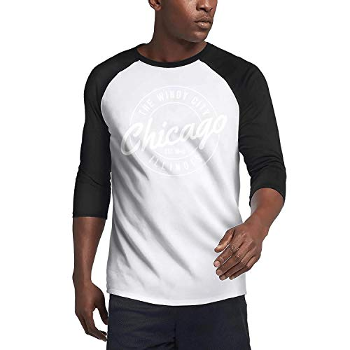 Mens Guys Casual 3/4 Sleeve Plain Raglan T-Shirts Pullover Chicago Illinois Windy City Black Soft Comfy Tee Shirts