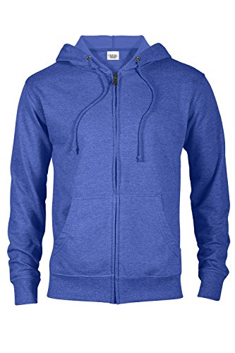 Casual Garb Hoodies for Men Heather French Terry Full Zip Hoodie Hooded Sweatshirt Royal Heather Medium