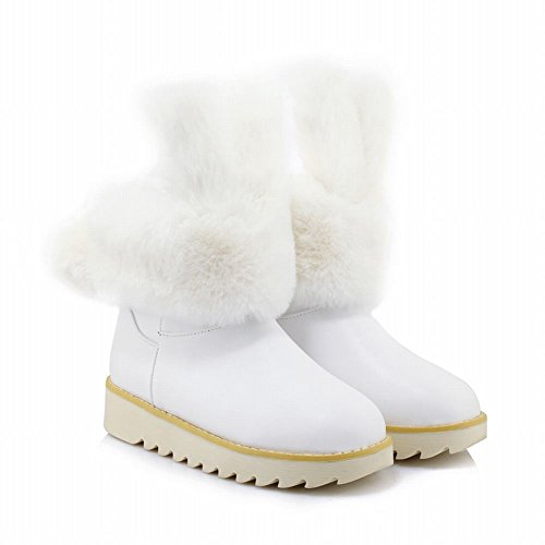 Carolbar Mujeres Faux Fur Cute Bunny Ears Decoraciones Shearling Snow Botas Blanco