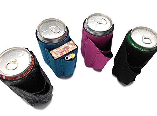 Beer Can Chuggie With Two Pockets - Holds Cigarette And Lighter, Phone, Keys, 3mm Neoprene (Assorted, 4 - Pack 3 Cigarette