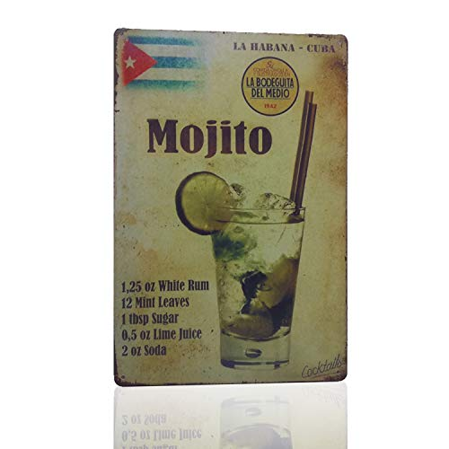 - MMOUNT Mojito La Habana Cuba Drink Tin Sign Wall Kitchen Retro Metal Bar Food Style Ornament Coffee Decor Home Gift Size 8 X 12