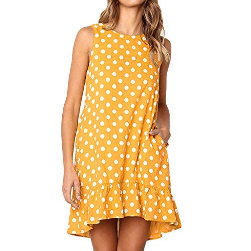 Kulywon Ruffle Dress Women Casual Wave Point Print Flounce Sleeveless Dress Pocket Mini Dress Yellow