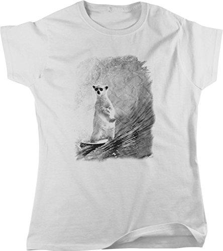 Surfing Polar Bear Wearing Sunglasses Women's T-shirt, NOFO Clothing Co. XL - Sunglasses Wearing Bear