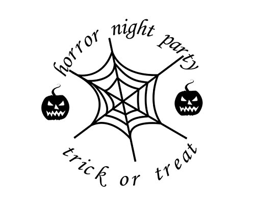 Home Find Horror Night Party Decor Trick or Treat Words Arts Spiderweb and Pumpkin Stickers Halloween Wall Mural Happy Halloween Door Window Decal Black 24 inches x 24 inches]()