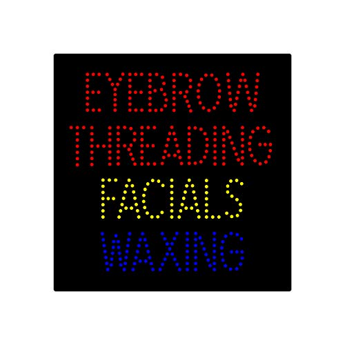 LED Facial Waxing Eyebrow Threading Open Light Sign Super Bright Electric Advertising Display Board for Nails Spa Eyelash Extension Business Shop Store Window Bedroom 24 x 24 inches ()