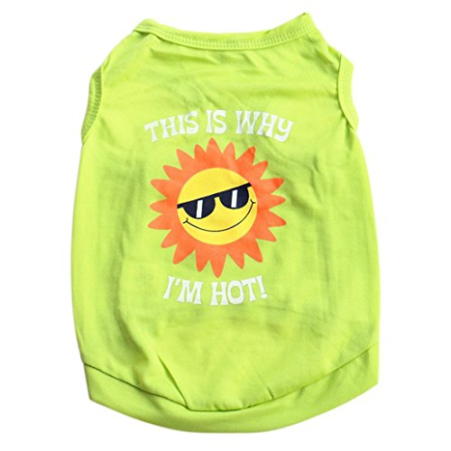 Vicbovo Pet Outfit, Cute Small Dog Sun Print Clothes Puppy Cat Tank Tops Vest Tee Shirt Summer Apparels (Green, S)