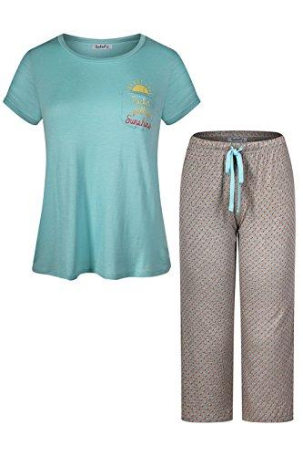 (SofiePJ Women's Rayon Printed Short Sleeve Capri Pant Pajama Set Mint Gray L)