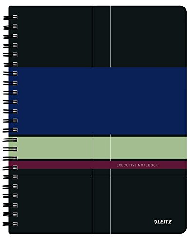 Leitz A4 Stiff Cover Notebook, Multi-Colour (Wire Bound, 80 Sheets, Ruled, 90 GSM Ivory Paper, Executive Range)