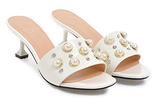 Bout Femme Blanc Aisun Maison Talon Ouvert Moyen Mules Perles Mode Petite Amie wtqC4qxOf