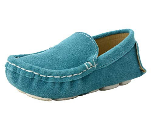 WUIWUIYU Boys' Girls' Suede Slip-On Loafers Flats Moccasins Comfort Casual Shoes for Toddler Little Kid