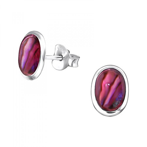Oval Pink Shell Earrings - Sterling Silver Abalone Pink Oval Stud Earrings with Abalone Shell and Epoxy