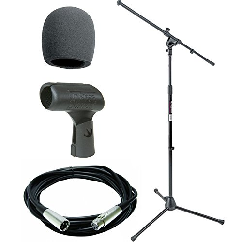 (On Stage Stands MS7701B Tripod Boom Microphone Stand With On Stage Foam Windscreen Black + Mic Cable 20 ft. XLR + On Stage Unbreakable Dynamic Rubber Mic Clip)