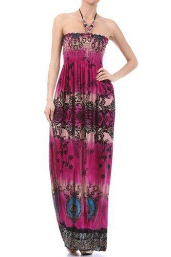 Beaded Halter Maxi Dress (FOJewelOval39A-7931 Floral Rose Jeweled Oval Graphic Print Beaded Halter Smocked Bodice Long / Maxi Dress - Magenta / Medium)