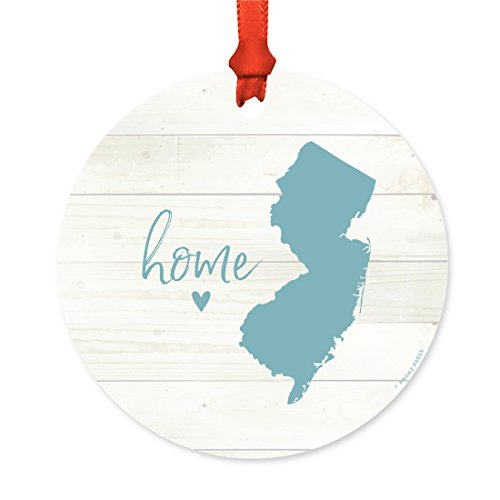 Andaz Press US State Round Metal Christmas Ornament, Rustic Light Wood Print, New Jersey Home, 1-Pack, Includes Ribbon and Gift Bag