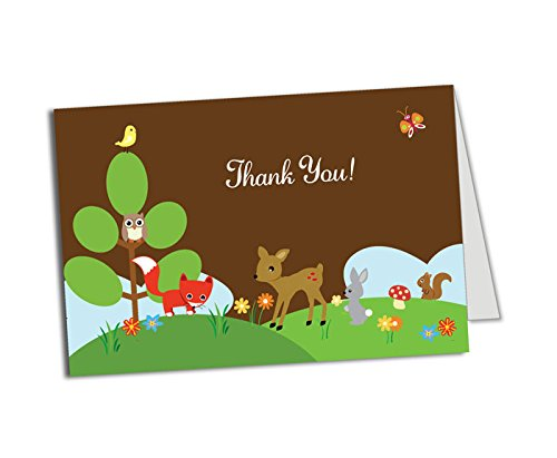 50 (Thick Card Stock) Woodlands Foldover Thank You Cards - Baby Shower - Birthday Party - Any Occasion - A6 Size - Flowers Padded Stationery