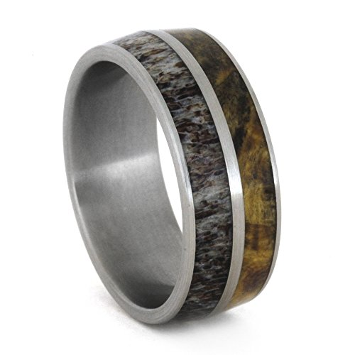 Deer Antler, Buckeye Burl Wood 8mm Comfort-Fit Brushed Titanium Band, Size 5.75 by The Men's Jewelry Store (Unisex Jewelry)